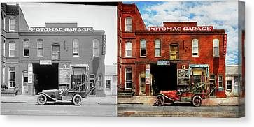 Canvas Print featuring the photograph Car - Garage - Misfit Garage 1922 - Side By Side by Mike Savad