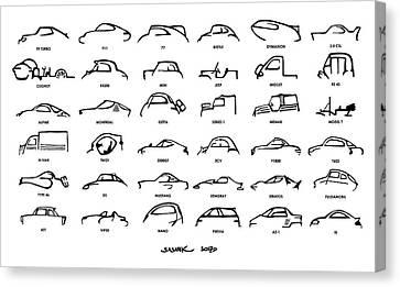 Car Icons White Canvas Print by Sasank Gopinathan