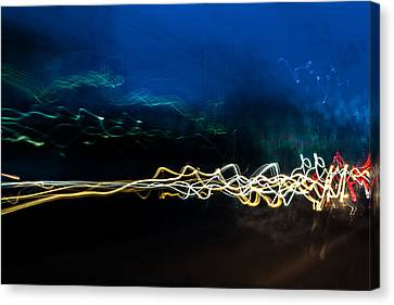 Car Light Trails At Dusk In City Canvas Print
