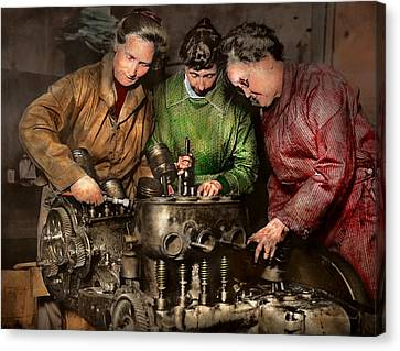 Car Mechanic - In A Mothers Care 1900 Canvas Print