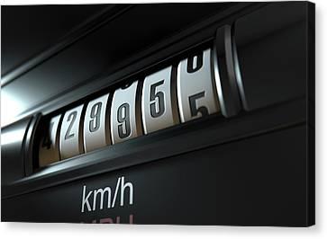 Car Odometer High Canvas Print by Allan Swart