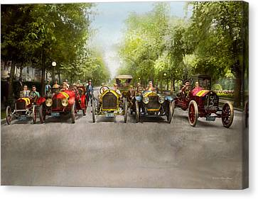 Franklin Park Canvas Print - Car - Race - Hold On To Your Hats 1915 by Mike Savad