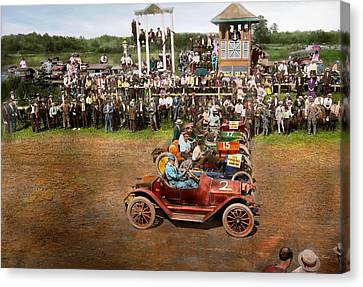 Car - Race - On The Edge Of Their Seats 1915 Canvas Print by Mike Savad