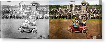 Car - Race - On The Edge Of Their Seats 1915 - Side By Side Canvas Print by Mike Savad