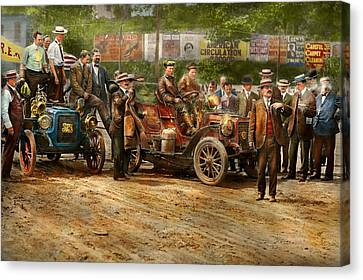 Car - Race - The End Of A Long Journey 1906 Canvas Print by Mike Savad