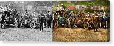 Car - Race - The End Of A Long Journey 1906 - Side By Side Canvas Print by Mike Savad