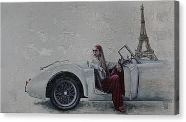 Car Woman In Paris Canvas Print
