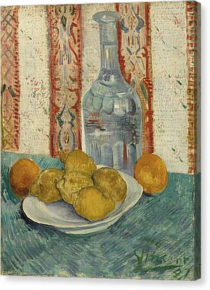 Carafe And Dish With Citrus Fruit Canvas Print by Vincent Van Gogh