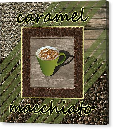 Caramel Macchiato - Coffee Art - Green Canvas Print by Anastasiya Malakhova