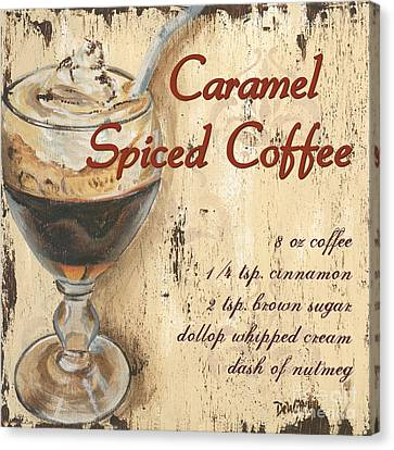 Vintage Sign Canvas Print - Caramel Spiced Coffee by Debbie DeWitt