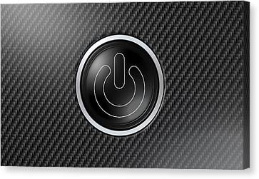 Carbon Fiber Power Button Canvas Print by Allan Swart