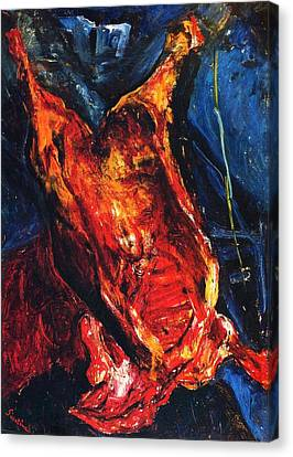 Carcass Of Beef Canvas Print by Pg Reproductions