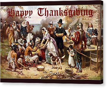 Canvas Print featuring the photograph Card First Thanksgiving by Robert G Kernodle