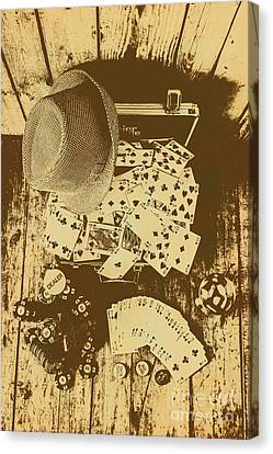 Card Games And Vintage Bets Canvas Print