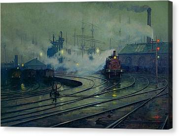 1933 Canvas Print - Cardiff Docks by Lionel Walden