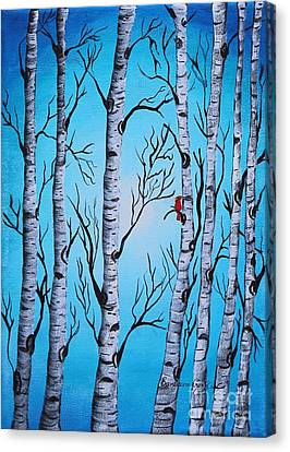 Cardinal And Birch Trees Canvas Print by Barbara Griffin