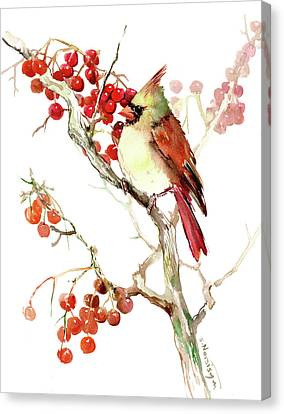 Cardinal Bird And Berries Canvas Print