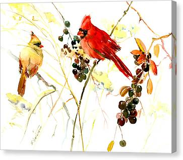 Cardinal Birds And Berries Canvas Print