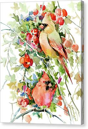 Cardinal Birds And Hawthorn Canvas Print