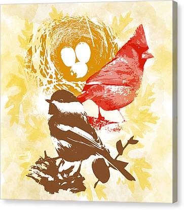 Cardinal Chickadee Birds Nest With Eggs Canvas Print