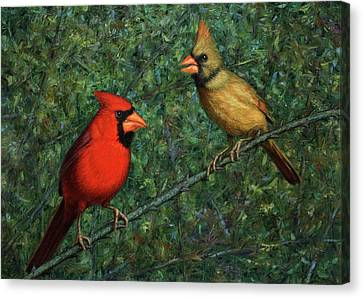 Cardinal Couple Canvas Print by James W Johnson