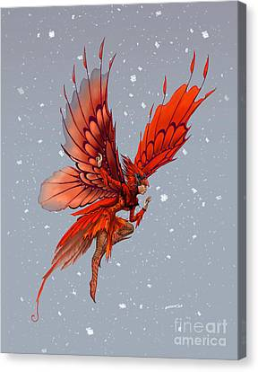 Canvas Print featuring the digital art Cardinal Fairy by Stanley Morrison