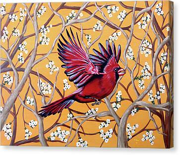 Canvas Print featuring the painting Cardinal In Flight by Teresa Wing