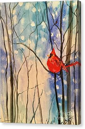 Canvas Print - Cardinal In Late Snow by Tina Sheppard