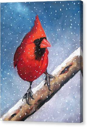 Cardinal In Winter Canvas Print by Joyce Geleynse