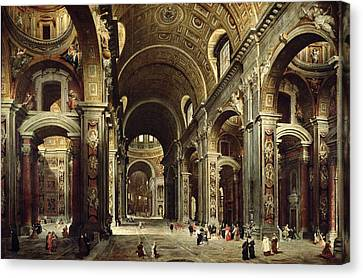 Cardinal Melchior De Polignac Visiting St Peters In Rome Canvas Print by Giovanni Paolo Pannini or Panini