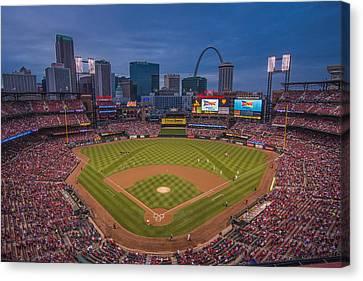 Cardinal Nation Busch Stadium St. Louis Cardinals Twilight 2015 Canvas Print by David Haskett