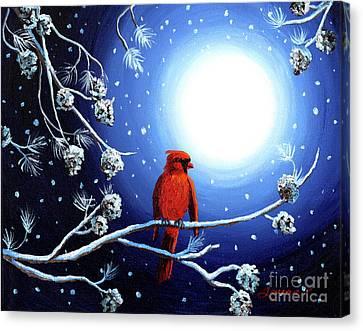 Cardinal On Christmas Eve Canvas Print