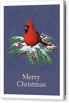 Cardinal On Snowy Pine Branches, Merry Christmas Canvas Print by Joyce Geleynse