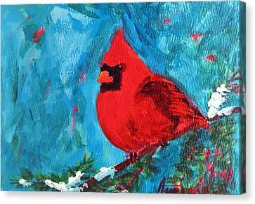 Cardinal Red Bird Watercolor Modern Art Canvas Print by Patricia Awapara