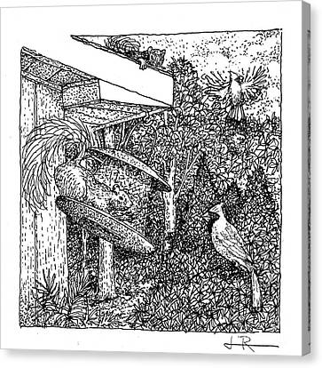 Cardinals And Squirrels / Black And White Canvas Print by Jim Rehlin
