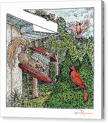 Cardinals And Squirrels Canvas Print