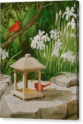 Cardinals Feeding Canvas Print by Faye Ziegler