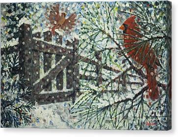 Cardinals I I / Garden Gate Canvas Print by Jim Rehlin