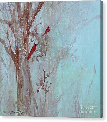 Canvas Print featuring the painting Cardinals In Trees Whilst Snowing by Robin Maria Pedrero