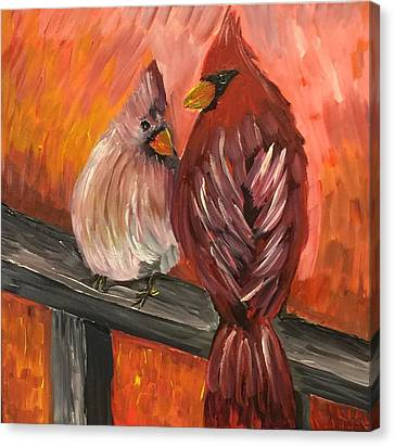 Vibrant Canvas Print - Cardinals On A Rail by Susan Peters