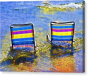Beach Chair Canvas Print - Care To Join Me by Deborah MacQuarrie-Selib