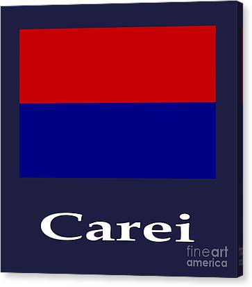 Carei, Romania Flag And Name Canvas Print by Frederick Holiday