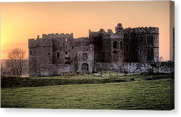 Carew Castle Coral Sunset Canvas Print by Steve Purnell