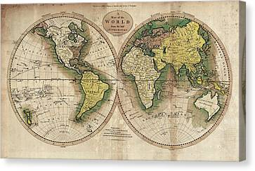 Canvas Print featuring the photograph Carey's Map Of The World  1795 by Daniel Hagerman
