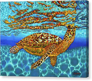 Caribbean Hawksbill Sea Turtle Canvas Print by Daniel Jean-Baptiste
