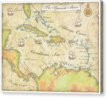 Caribbean Map - Good Canvas Print