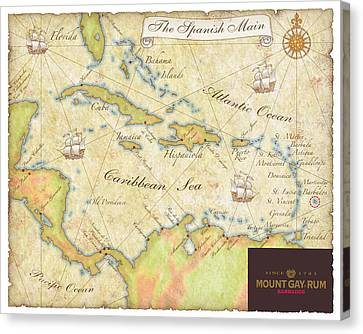 Caribbean Map II Canvas Print by Unknown