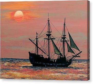 Canvas Print featuring the painting Caribbean Pirate Ship by Susan DeLain