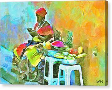 Caribbean Scenes - De Fruit Lady Canvas Print by Wayne Pascall