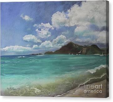 Canvas Print featuring the pastel Caribbean Sea Day Antigua by Robin Maria Pedrero